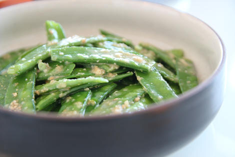 Snow pea namul with pine nuts sauce