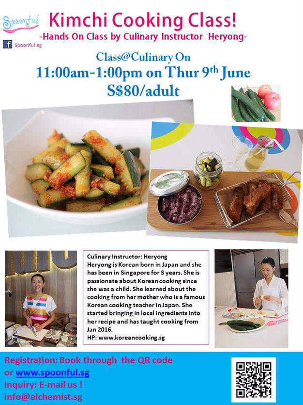 Cucumber kimchi class on 9th June at One Raffles Place