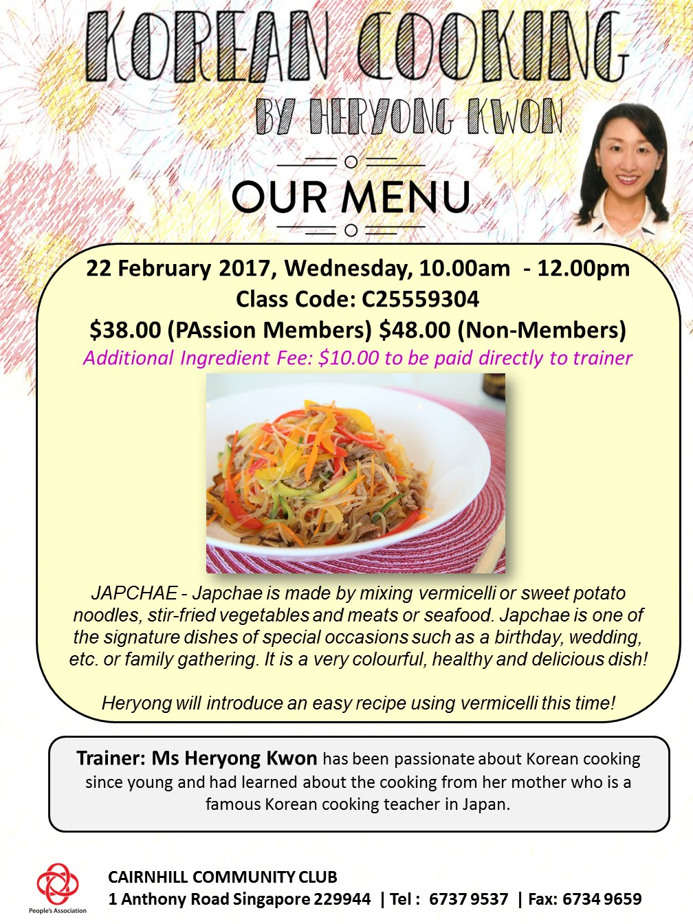 cooking class on 22Feb(Wed) 1000-1200