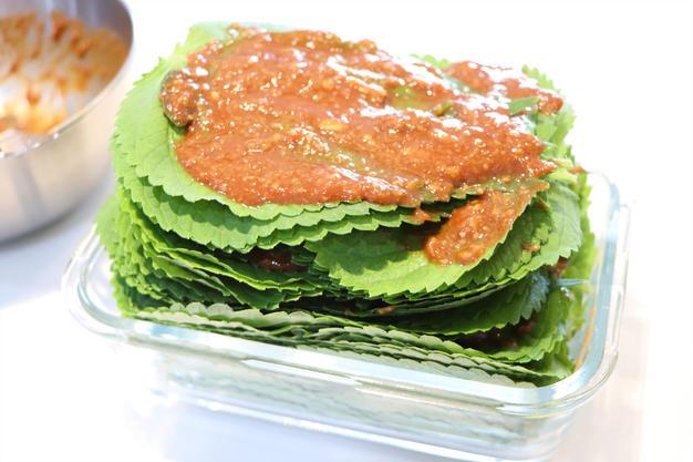 Perilla leaves kimchi with miso sauce
