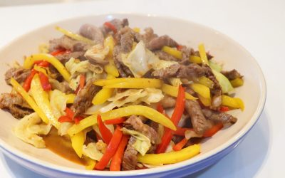 Stir-fried beef short ribs with vegetables